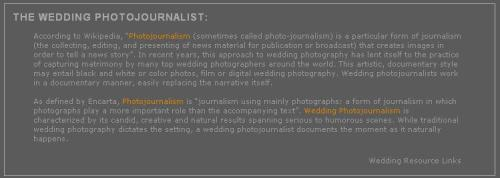 Wedding Journalism