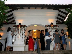 The exterior of Raffles House during a wedding