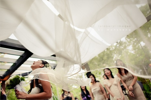 Nice flowing feel prior to throwing the bouquet