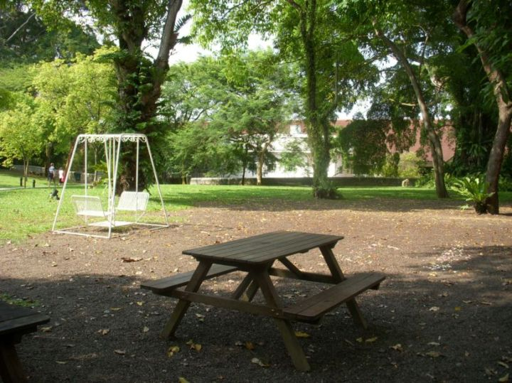 There is an old-school swing and bench in the vicinity as well.