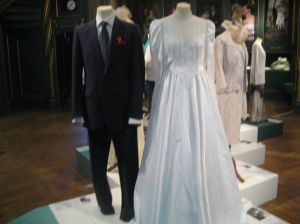 A more contemporary European style suit and gown.