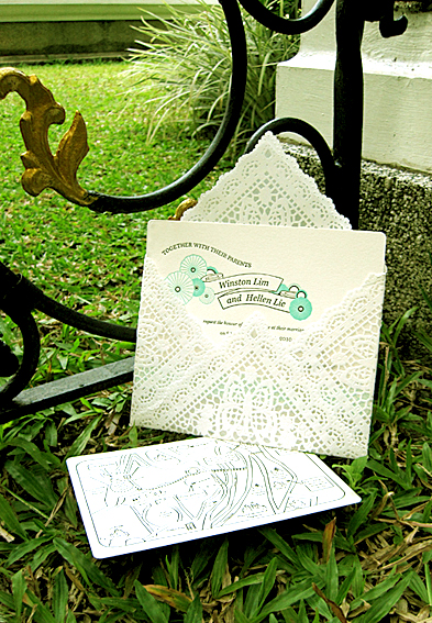 My own wedding Invitation dream come true Lace envelope and letterpress