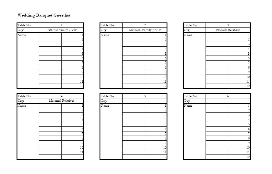 He says Useful Documents for Weddings we love laugh kiss – Wedding Planning Guest List Template