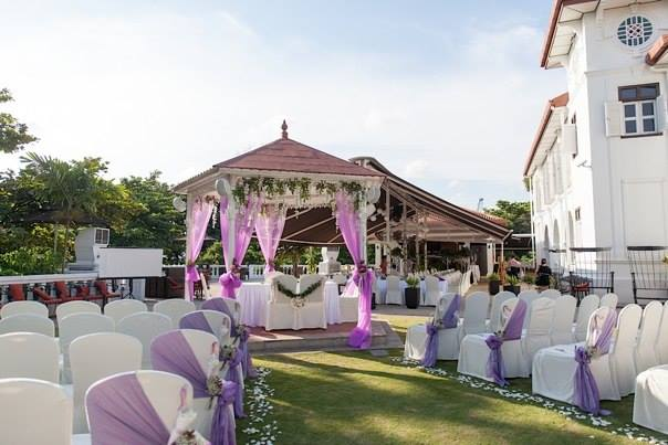 Alkaff mansion gazebo with lilac drapping and flowers