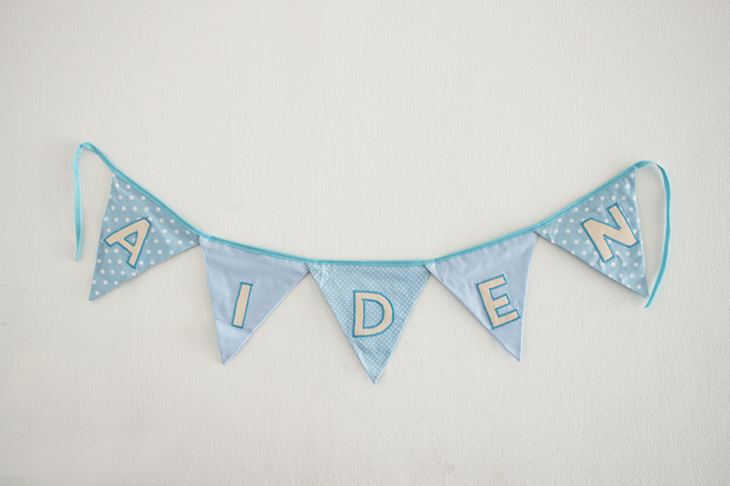 Name bunting in blue