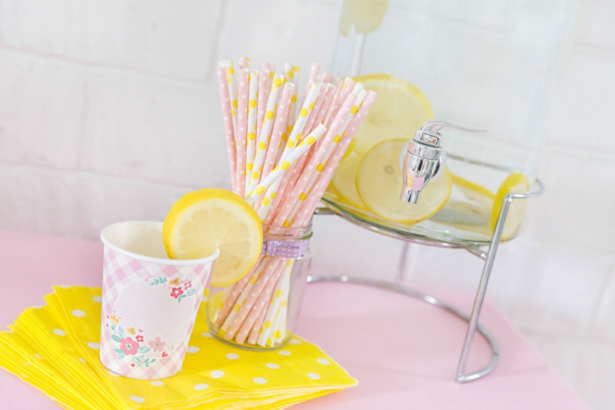 Rosette's Little Precious - cups and straws, pink and yellow floral theme