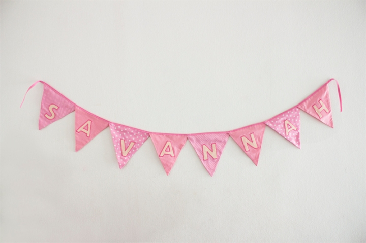 Name bunting in Pink