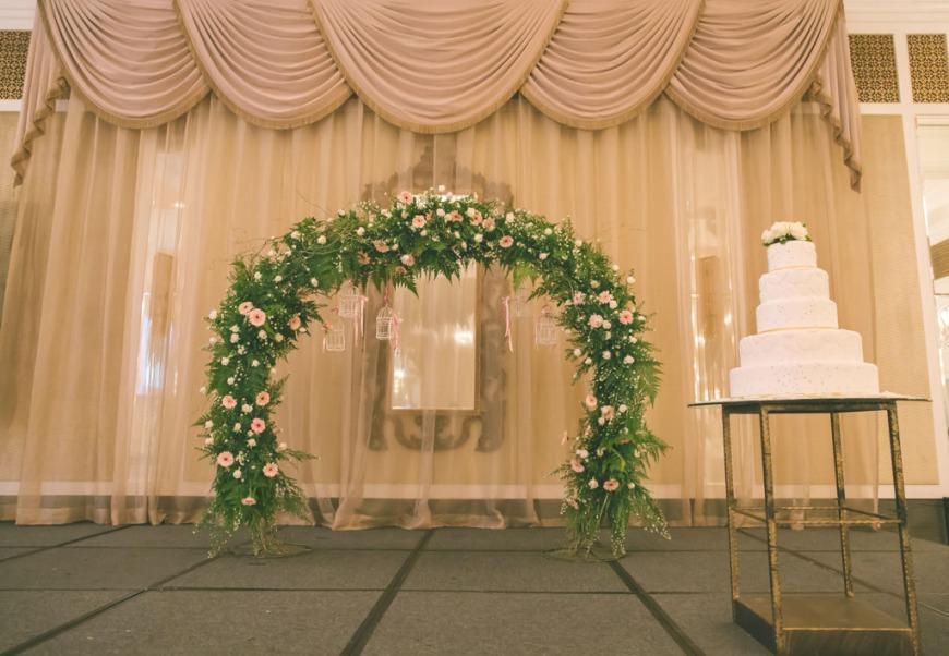Stage wedding arch