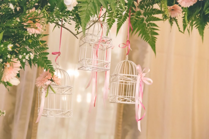 Wedding arch with birdcage