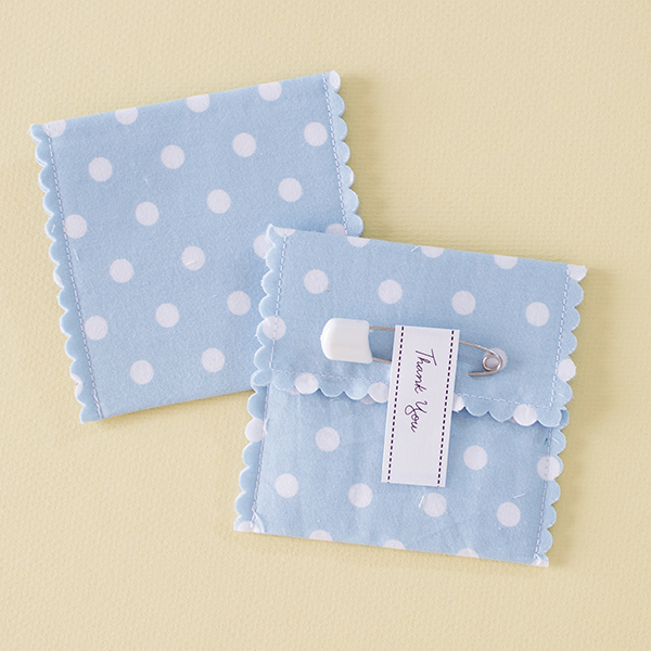 Nana - baby blue with white polka dot fabric favour pouch