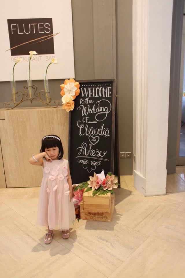 Chalkboard sign & flower girl