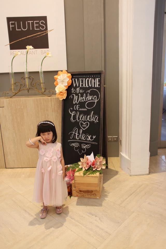 Chalkboard sign & flower girl