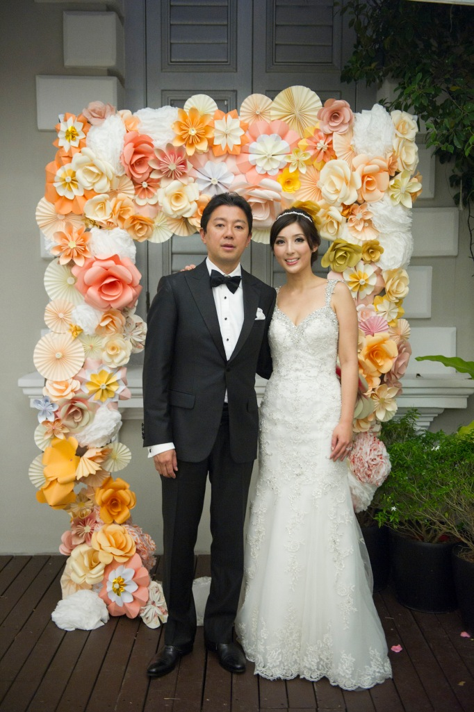 Paper flower arch