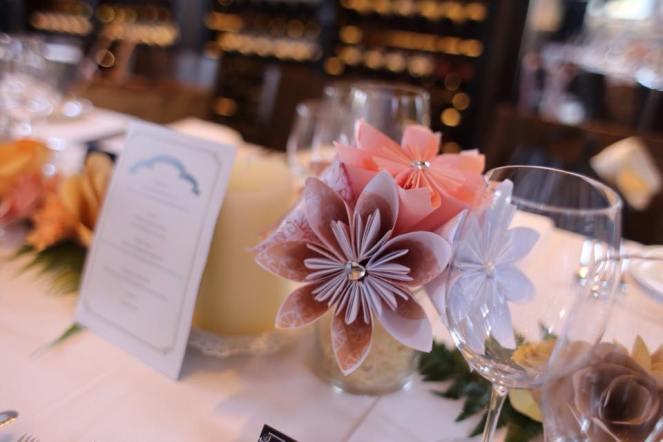 Paper flower table centerpiece