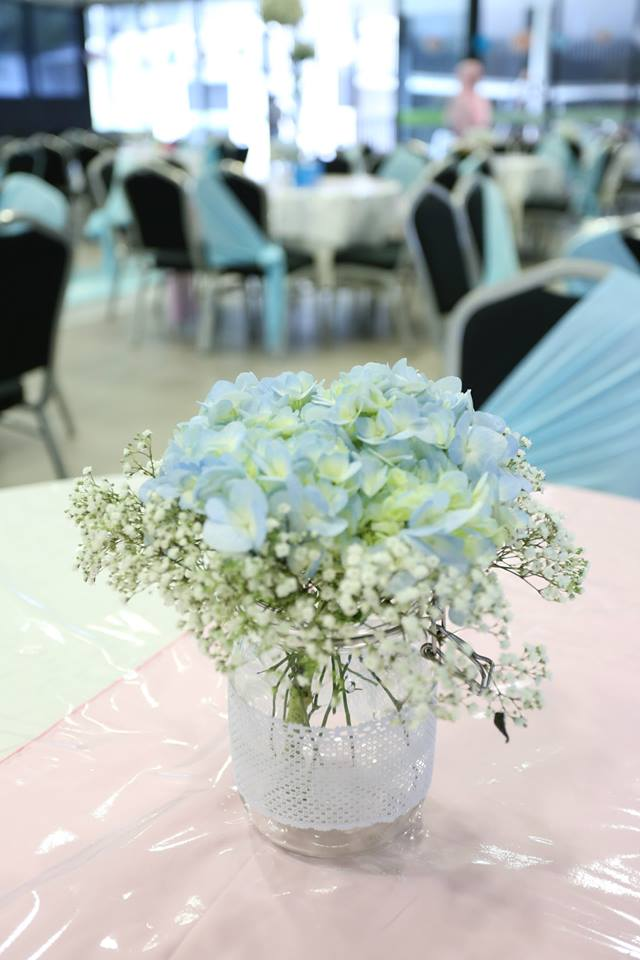 Flower centerpiece -Blue Hydrangeas