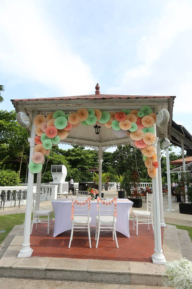 Alkaff Mansion Gazebo decorated with paper rosettes and pearls