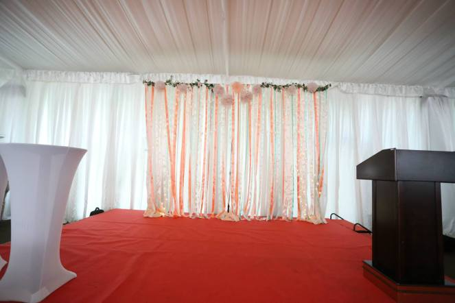 Stage ribbon streamer backdrop with fairy lights
