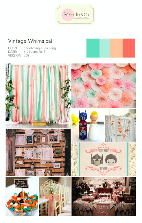 Vintage Whimsical Peach Mint Inspiration Board