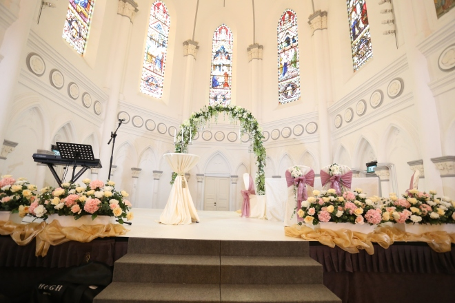 Wedding arch, white stage @ CHIJMES