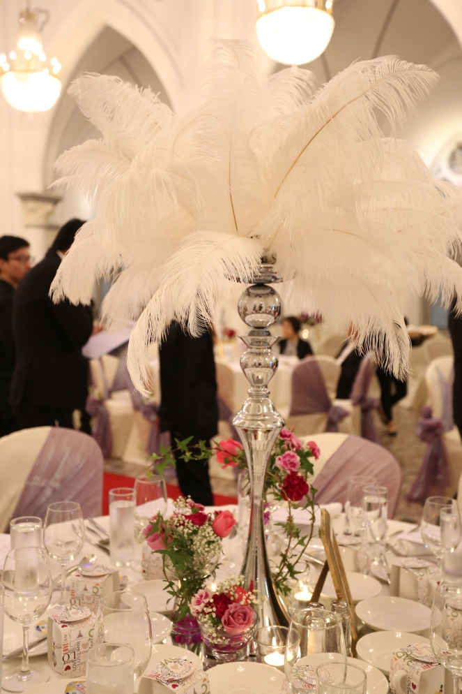 Tall feather centerpiece