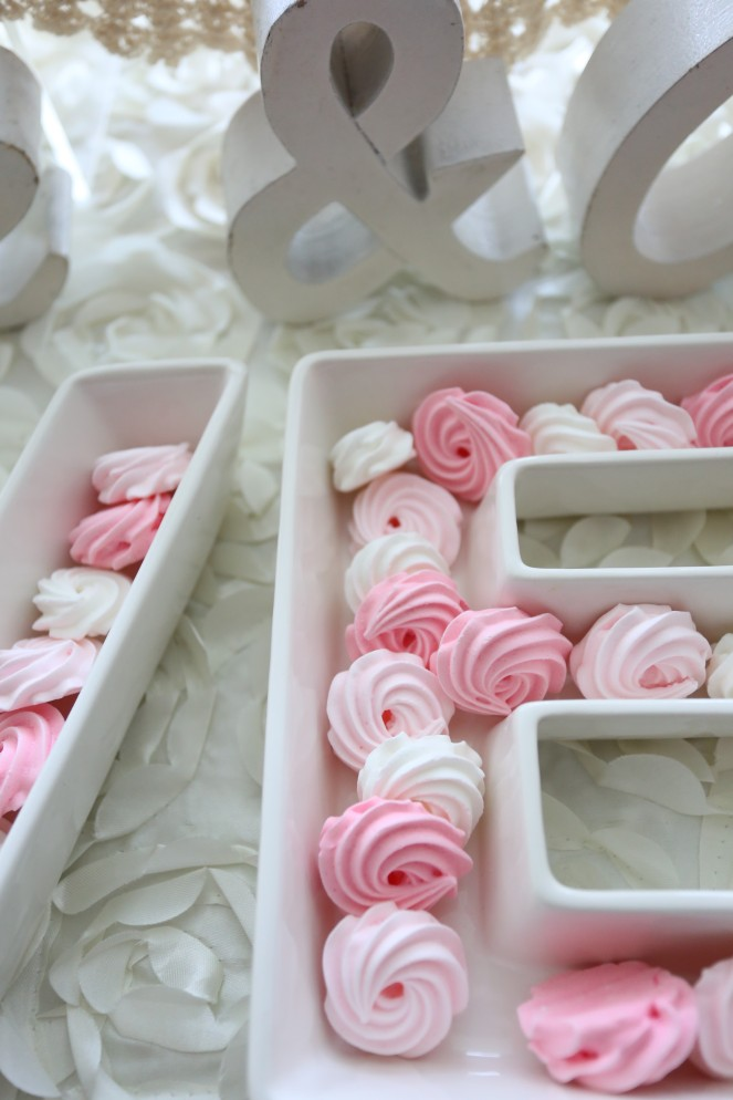 Pan Pacific Hotel Dessert Bar Mini Meringues, pink and white rosettes