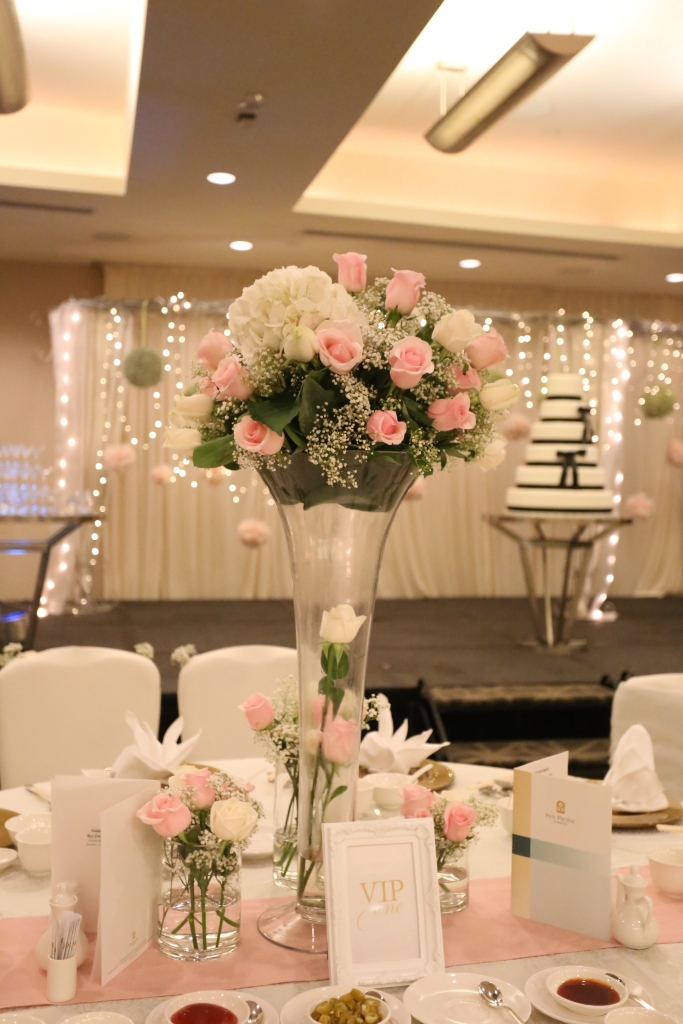 Tall flower centerpiece for VIP table