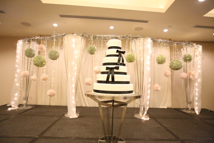 Stage decor, fairy lights, baby breathe balls and blush pom poms