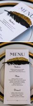 Tie in the menu to the black and gold theme with a half-gold feather