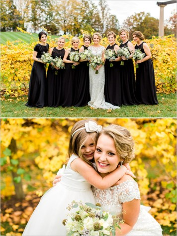 Have your bridesmaids dressed in black to complement your white wedding gown