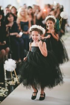 Flower girls in black tulle dresses